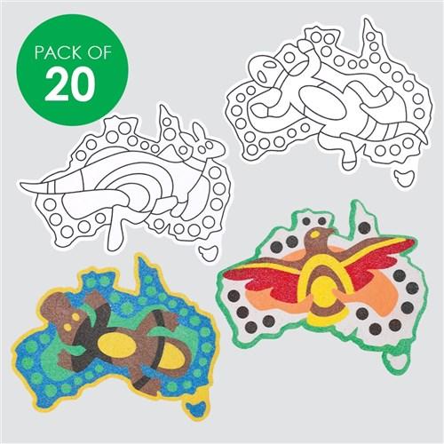 Australia Map Art.Australian Map Animals Sand Art Shapes
