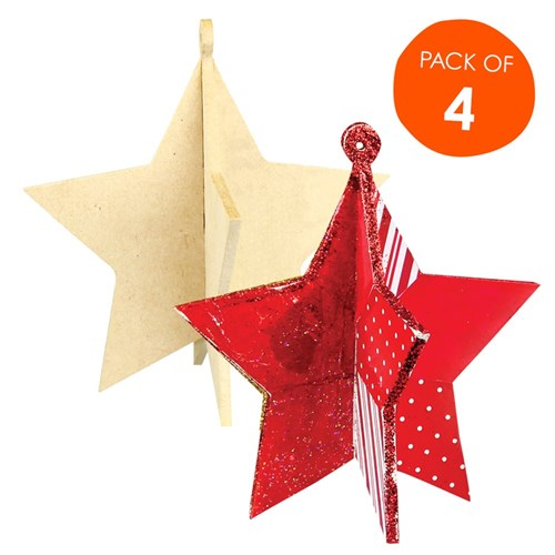 3d Wooden Stars Pack Of 4