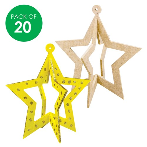 3d Wooden Stars With Cutouts