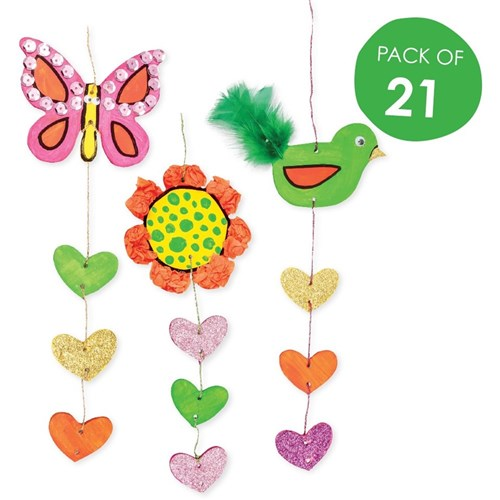 Wooden Hanging Decoration Spring Pack Of 21