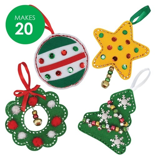 Ornaments Christmas.Felt Christmas Ornaments Sewing Cleverkit Multi Pack